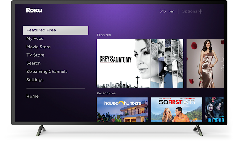 A television showing programs available on The Roku Channel.