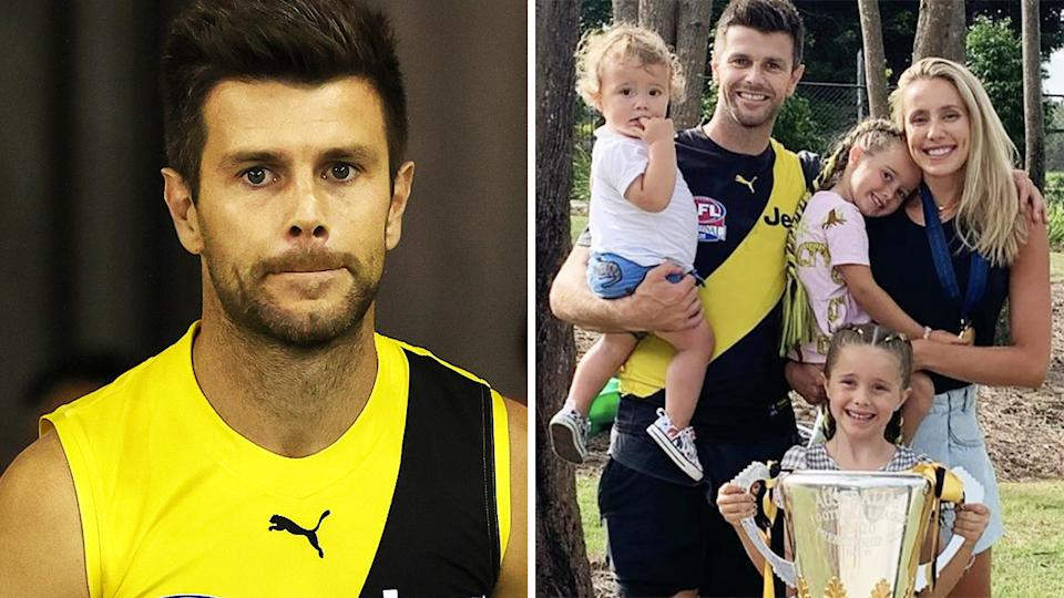 Richmond captain Trent Cotchin is considering returning to Melbourne to care for his family, after the Tigers relocated to Sydney thanks to the latest Victorian lockdown. Pictures: Getty Images/Instagram/trentcotchin9