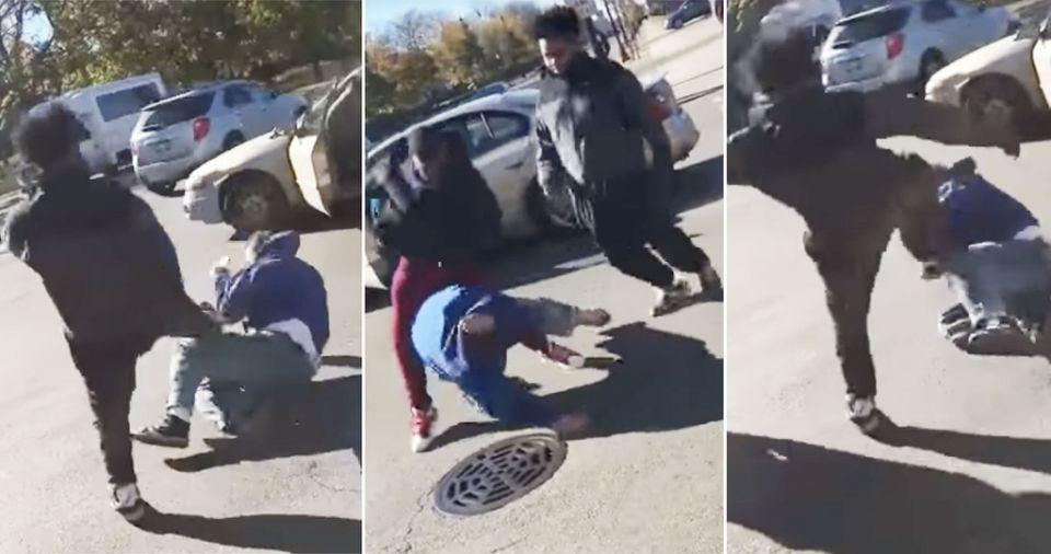 The thugs bashed the white male in Chicago. Photo: YouTube
