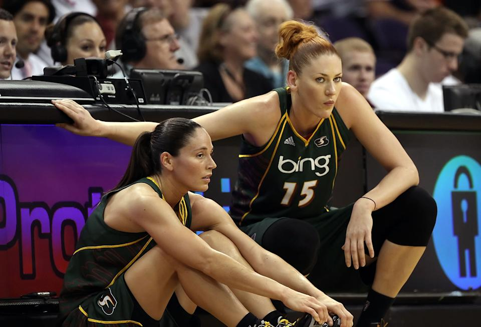 Lauren Jackson, right, and Sue Bird, shown during a 2010 game, teamed up to bring the Seattle Storm two titles. Jackson will be inducted into the Naismith Memorial Basketball Hall of Fame this weekend. (Christian Petersen/Getty Images)
