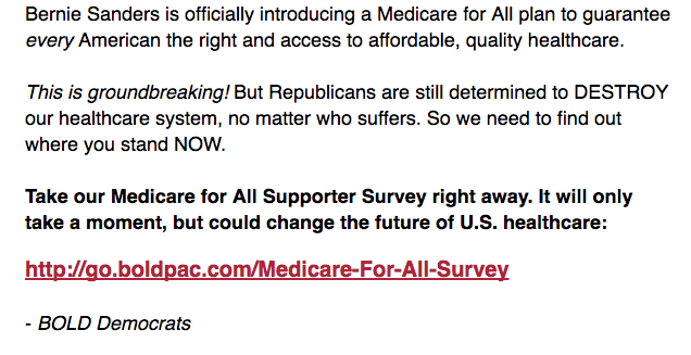"The Congressional Hispanic Caucus' Bold PAC conveys the impression that it is at the front lines of the fight for ""Medicare for all,"" despite the fact that half its members do not support it. (Bold PAC)"