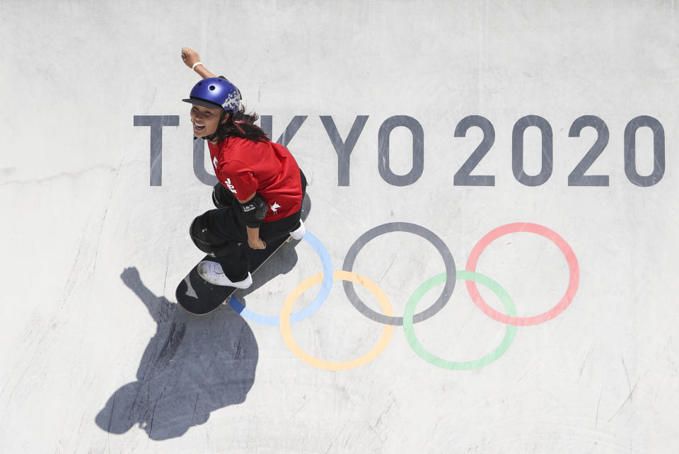TOKYO, JAPAN - AUGUST 4: Sakura Yosozumi of Japan competes in the Women's Park Skateboarding Final on day twelve of the Tokyo 2020 Olympic Games at Ariake Urban Sports Park on August 4, 2021 in Tokyo, Japan.  (Photo by Jean Catuffe/Getty Images)