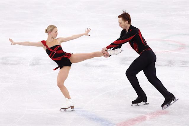 Olympic Athletes from Russia Evgenia Tarasova and Vladimir Morozov compete during the Pair Skating Short Program on day five of the PyeongChang 2018 Winter Olympics on Feb. 14, 2018.