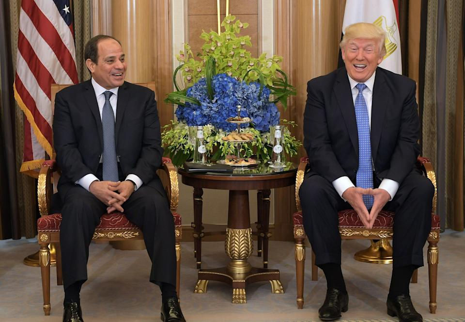 Trump and Egyptian President Abdel Fattah el-Sissi take part in a bilateral meeting at a hotel in Riyadh on May 21, 2017.