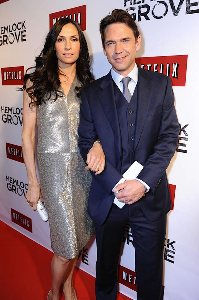 "Famke Janssen and Dougray Scott arrive at the ""Hemlock Grove"" North America premiere for Netflix on Tuesday April 16, 2013, in Toronto."