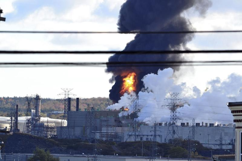 Fire and smoke at Irving Oil refinery in St. John's, New Brunswick