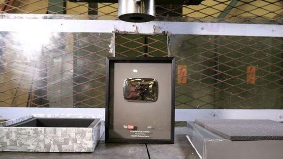 hydraulic press channel gets youtube award for 100k subscribers and