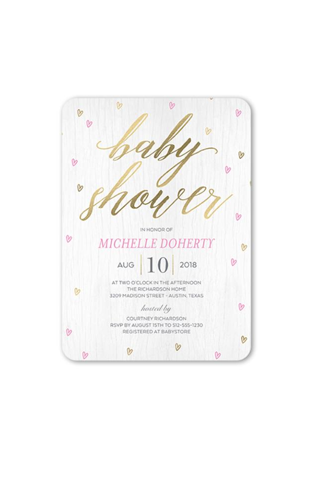 """<p><strong>SFLY</strong></p><p>shutterfly.com</p><p><strong>$132.00</strong></p><p><a rel=""""nofollow"""" href=""""https://www.shutterfly.com/cards-stationery/baby-shower-invitations/raining-love-girl-baby-shower-invitation-5x7-flat"""">SHOP NOW</a></p><p>With a sprinkle of pink and gold hearts, these invitations are almost <a rel=""""nofollow"""" href=""""https://www.womansday.com/relationships/dating-marriage/g25776519/things-to-do-on-valentines-day/"""">valentine-inspired</a>. </p>"""