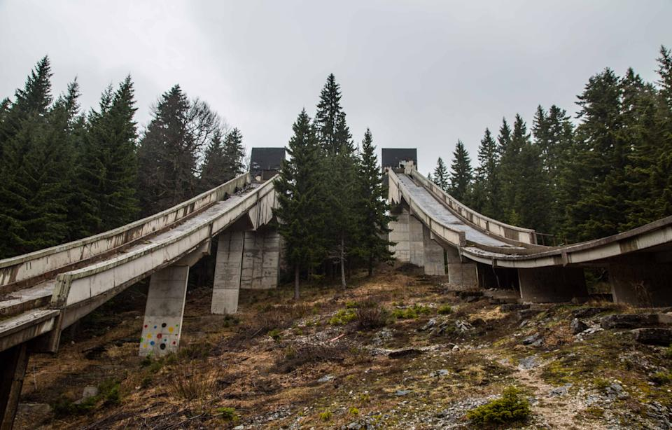 *** EXCLUSIVE *** SARAJEVO, BOSNIA AND HERZEGOVINA - APRIL 2017: Ski slopes in abandoned Olympic site  in, Sarajevo, Bosnia and Herzegovina, April 2017.   SEEMINGLY forgotten by time, these powerful images show all thats left of Sarajevo's 1984 Winter Olympic venue. Once regarded as a great achievement for the small European city, in time it would be the setting for one of the bloodiest civil wars in the 20th century. The 1984 Winter Olympics was the first ever winter olympics hosted by a communist state and was seen at the time as a major coup for socialist Yugoslavia. Photographer Ioanna Sakellaraki, 27, visited the now abandoned venue in April 2017  PHOTOGRAPH BY Ioanna Sakellaraki / Barcroft Images  London-T:+44 207 033 1031 E:hello@barcroftmedia.com - New York-T:+1 212 796 2458 E:hello@barcroftusa.com - New Delhi-T:+91 11 4053 2429 E:hello@barcroftindia.com www.barcroftmedia.com (Photo credit should read Ioanna Sakellaraki / Barcroft Im / Barcroft Media via Getty Images)