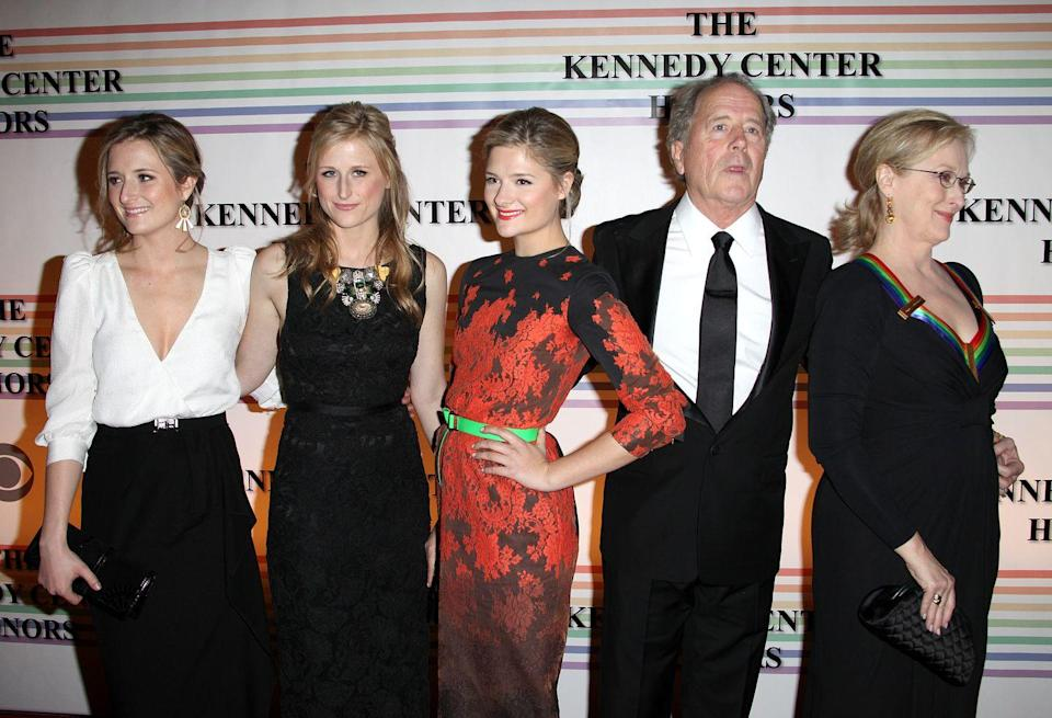 <p>Meryl Streep shares three daughters with her husband, Don Gummer. Her oldest daughters, Mammie and Grace, are both actresses, while her youngest, Louisa, is signed with IMG Models. </p>