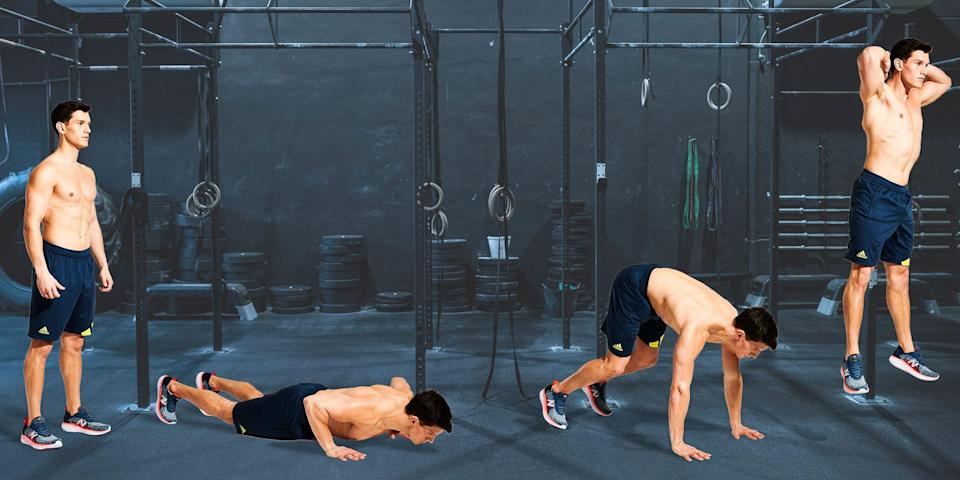 <p>The test involves following an audio recording of a set of timed bleeps (find them on iTunes, Spotify or YouTube), working each time the audio sounds. In your case, perform two to five reps of the versatile burpee. Choose a higher rep count for a faster, intense blast, or drop the reps to two for a long and intense cardio session.</p>