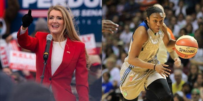 Former U.S. Sen. Kelly Loeffler (left) and retired WNBA player Renee Montgomery (right).