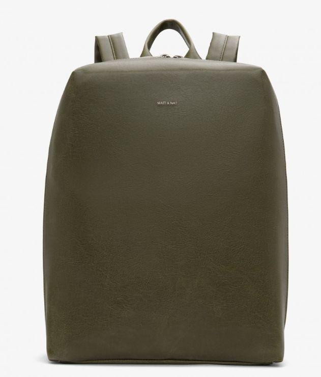 """Bremen backpack in Olive. Available in three colours. Interior: 15"""" laptop padded sleeve. Image via Matt & Nat."""