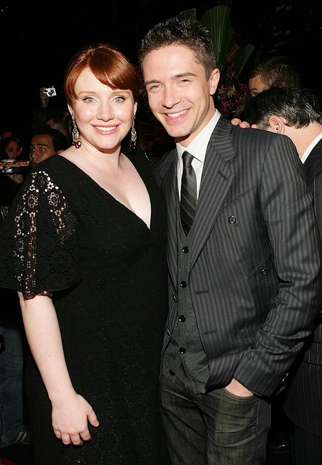 <p>Bryce Dallas Howard (M.J.'s rival Gwen Stacy) and Topher Grace (Spidey's rival Eddie Brock/Venom) joined the festivities <em>Spider-Man</em> 3. (Photo: Evan Agostini/Getty Images) </p>