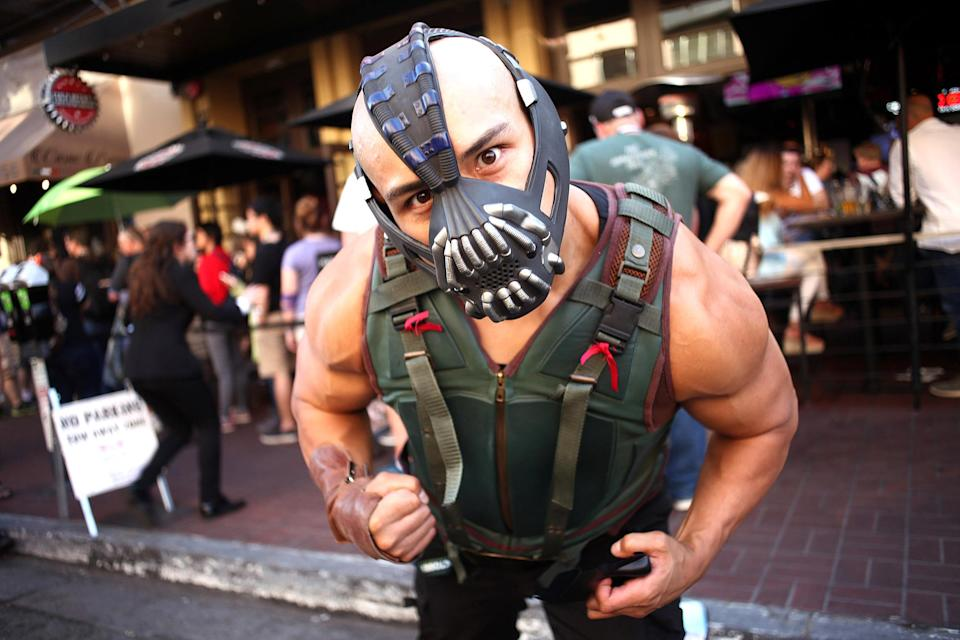 <p>Cosplayer dressed as Bane at Comic-Con International on July 19, 2018, in San Diego. (Photo: Tommaso Boddi/Getty Images) </p>
