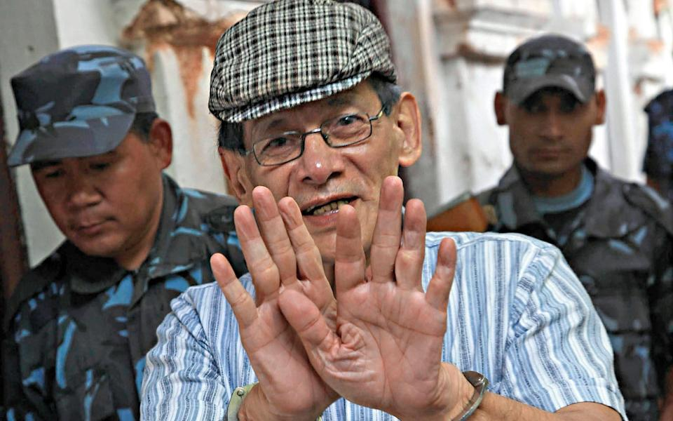 Charles Sobhraj, escorted by Nepalese police, following a court hearing in Kathmandu, 31 May 2011 - Narendra Shrestha/EPA/Shutterstock