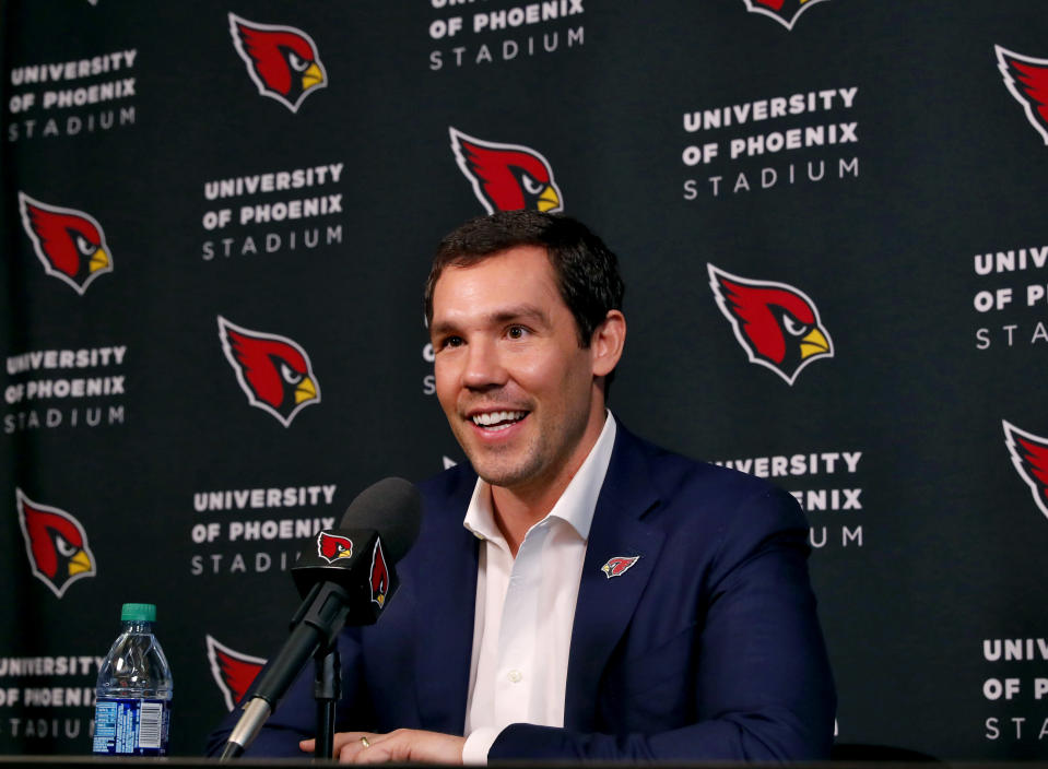 Arizona Cardinals new quarterback Sam Bradford speaks at an NFL football news conference Friday, March 16, 2018, at the teams' facility in Tempe, Ariz. (AP Photo/Matt York)