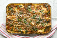 """<p>Forget Quorn or any meat substitutes. If you're looking for inspiration when it comes to your veggie lasagne, try <a rel=""""nofollow noopener"""" href=""""https://realfood.tesco.com/recipes/andy-waters-ricotta-and-curly-kale-lasagne.html"""" target=""""_blank"""" data-ylk=""""slk:Andy Waters' ricotta and curly kale recipe"""" class=""""link rapid-noclick-resp"""">Andy Waters' ricotta and curly kale recipe</a>. [Photo: Getty] </p>"""