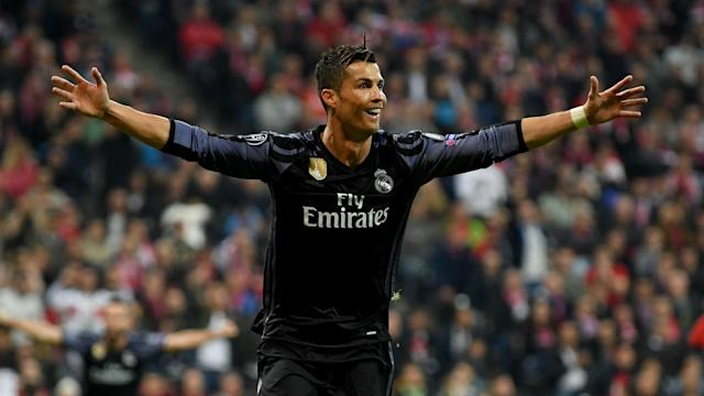 A pair of goals against Bayern Munich has taken Cristiano Ronaldo to a century of goals in UEFA club competitions.