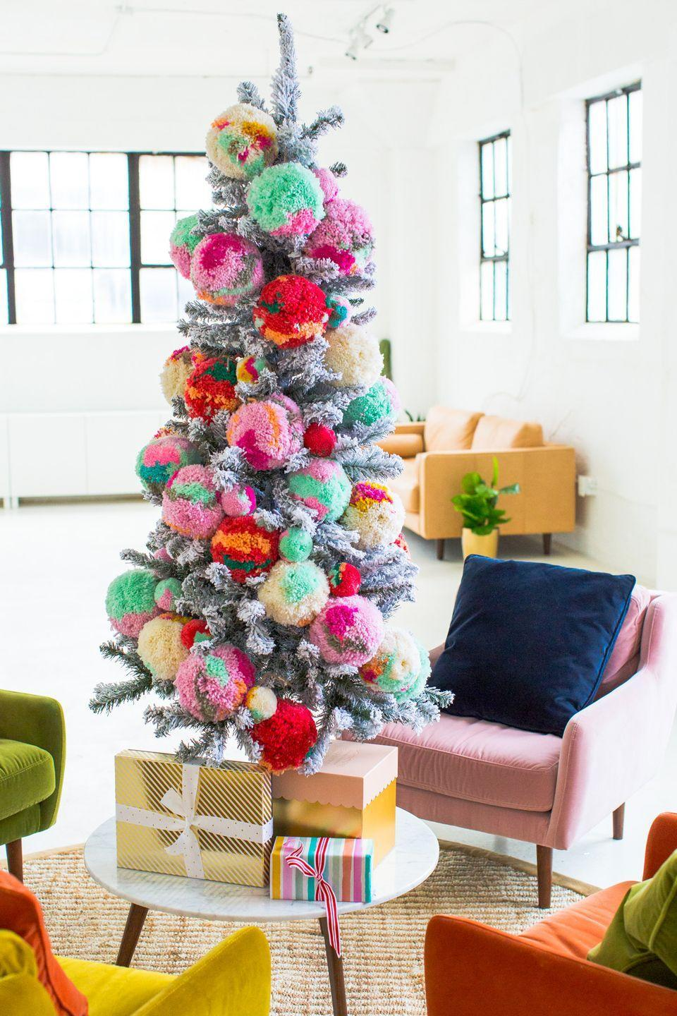 "<p>These pom pom ornaments will make any tree look like it came straight out of Whoville. Make it multi-color or stick with one color throughout.</p><p>See more at <a href=""https://sugarandcloth.com/new-studio-sitting-area-decorated-christmas/"" rel=""nofollow noopener"" target=""_blank"" data-ylk=""slk:Sugar & Cloth"" class=""link rapid-noclick-resp"">Sugar & Cloth</a>.</p><p><a class=""link rapid-noclick-resp"" href=""https://go.redirectingat.com?id=74968X1596630&url=https%3A%2F%2Fwww.etsy.com%2Flisting%2F737879576%2Fchristmas-ornaments-fluffy-pom-pom%3Fga_order%3Dmost_relevant%26ga_search_type%3Dall%26ga_view_type%3Dgallery%26ga_search_query%3DChristmas%2Bpompom%2Bornament%26ref%3Dsr_gallery-1-2%26organic_search_click%3D1%26frs%3D1&sref=https%3A%2F%2Fwww.housebeautiful.com%2Fentertaining%2Fholidays-celebrations%2Ftips%2Fg505%2Fchristmas-tree-decoration-ideas-pictures-1208%2F"" rel=""nofollow noopener"" target=""_blank"" data-ylk=""slk:SHOP ORNAMENTS"">SHOP ORNAMENTS</a> <strong><em>Pom Pom Ornaments (10), $45</em></strong><br></p>"