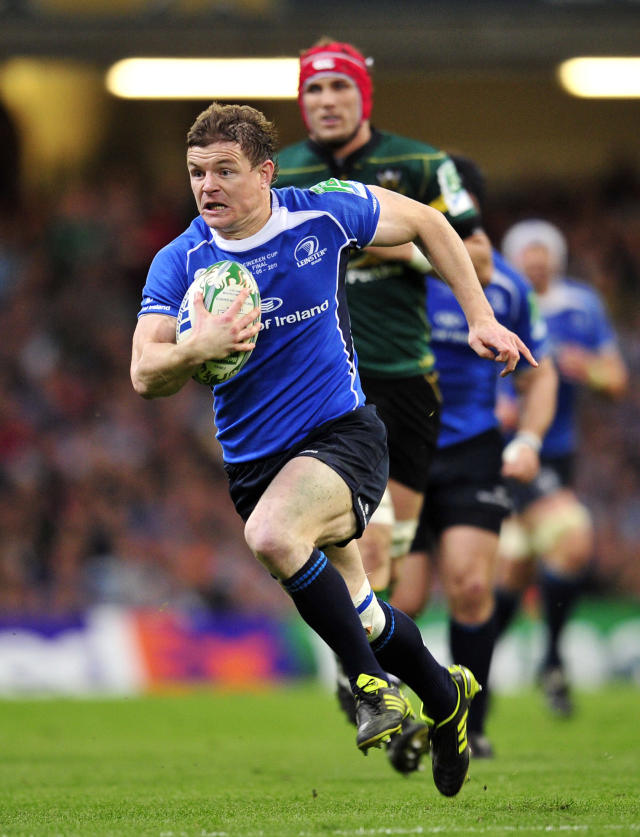 Leinster's Irish centre Brian O'Driscoll runs with the ball during their Heineken Cup Final match against Northampton Saints at the Millennium Stadium, Cardiff, Wales, on May 21, 2011. AFP PHOTO/GLYN KIRK NOT FOR MARKETING OR ADVERTISING USE/RESTRICTED TO EDITORIAL USE (Photo credit should read GLYN KIRK/AFP/Getty Images)