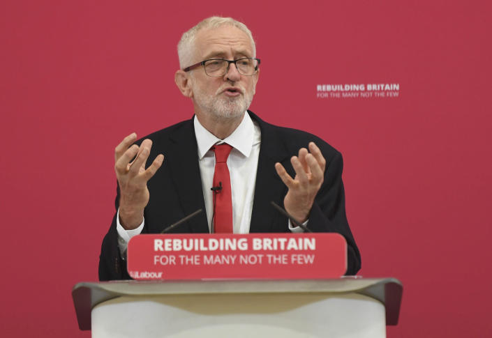 Britain's main opposition Labour Party leader Jeremy Corbyn makes a speech during a visit to Pen Green Children's Centre in Corby, England, Monday Aug. 19, 2019. British Prime Minister Boris Johnson is under increasing pressure to recall Parliament after leaked government documents warned of widespread problems if the U.K. leaves the European Union without a Brexit withdrawal agreement. (Joe Giddens/PA via AP)