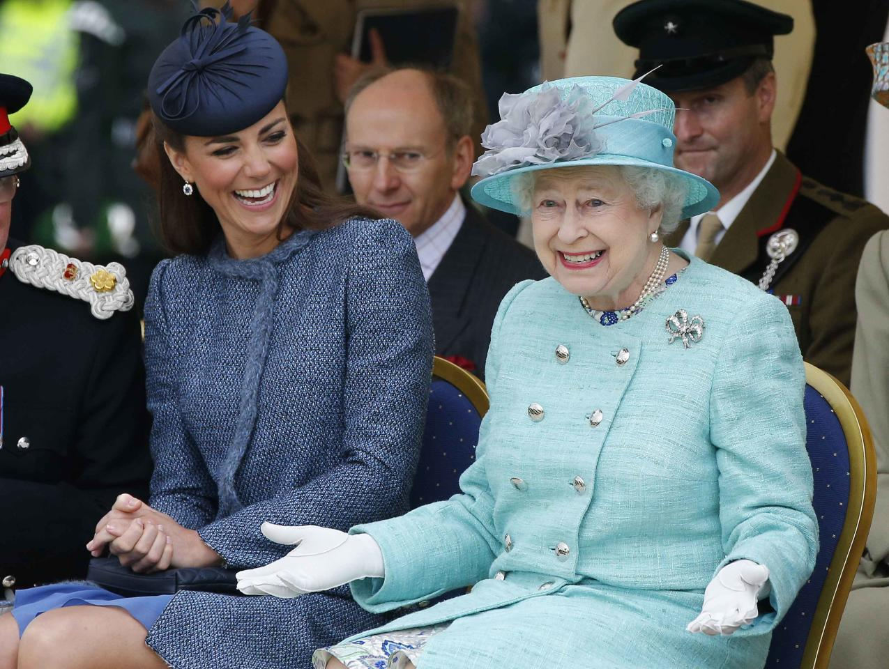 <p>Kate and the Queen share a laugh at Vernon Park in Nottingham.<em> [Photo: PA]</em> </p>