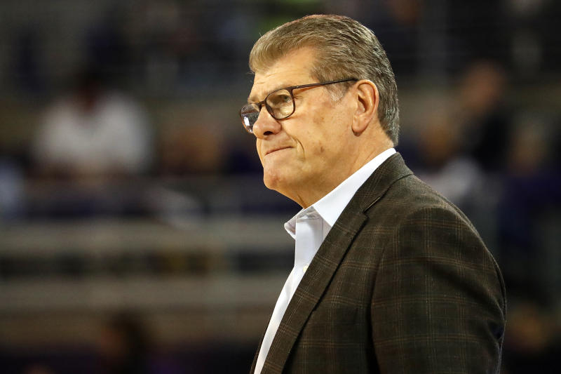 Connecticut head coach Geno Auriemma watches from the sidelines during the second half of an NCAA college basketball game East Carolina, Saturday, Jan. 25, 2020 in Greenville, N.C. (AP Photo/Karl B DeBlaker)