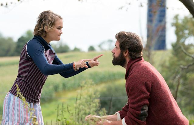 Millicent Simmonds and John Krasinski in <em>A Quiet Place.</em> (Photo: Paramount Pictures)