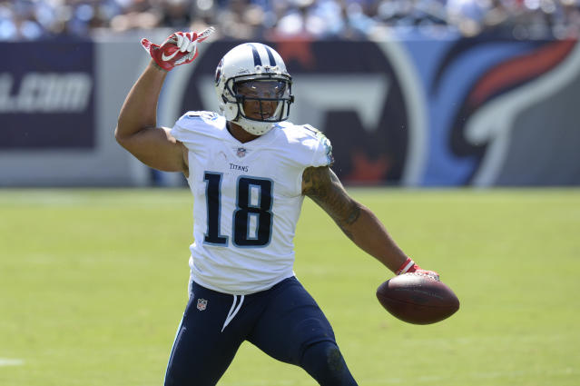 Tennessee Titans wide receiver Rishard Matthews tweeted that he'd retire from football if he was forced to stand for the anthem. (AP)