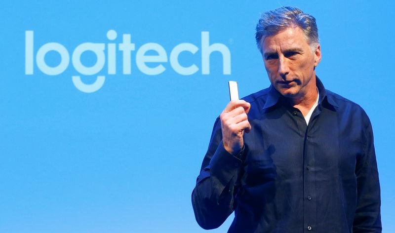 Chief Executive Darrell of the computer peripherals maker Logitech addresses news conference in Zurich