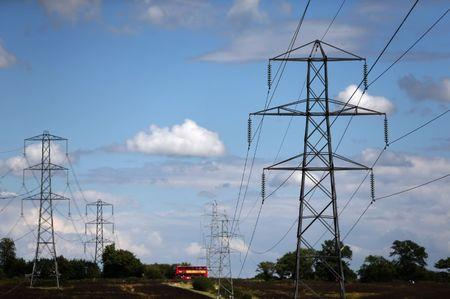 Electricity pylons are seen in London