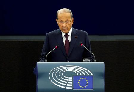 FILE PHOTO: Lebanon President Michel Aoun addresses the European Parliament in Strasbourg