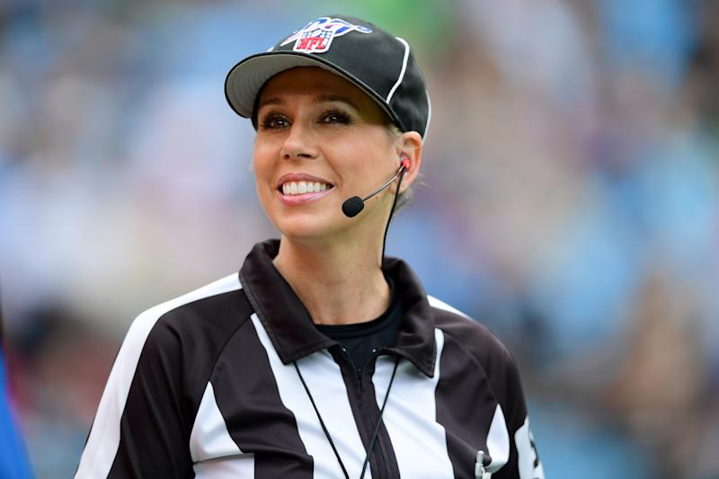 CHARLOTTE, NORTH CAROLINA - DECEMBER 29: Line judge Sarah Thomas #53 during the first half during their game between the Carolina Panthers and the New Orleans Saints at Bank of America Stadium on December 29, 2019 in Charlotte, North Carolina. (Photo by Jacob Kupferman/Getty Images)