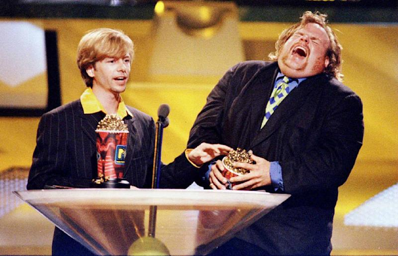 "FILE PHOTO 9JUN96 - Actors David Spade (L) and Chris Farley accept the award for Best On-Screen Duo for their roles in the film ""Tommy Boy"" at the 1996 MTV Movie Awards which were taped at Disney Studios in Burbank, June 9, 1996. Farley was found dead in Chicago December 18, the cause of his death was not immediately known. FARLEY"