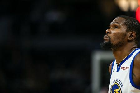 FILE PHOTO: Mar 19, 2019; Minneapolis, MN, USA; Golden State Warriors forward Kevin Durant (35) looks on during the fourth quarter against the Minnesota Timberwolves at Target Center. Mandatory Credit: Brace Hemmelgarn-USA TODAY Sports