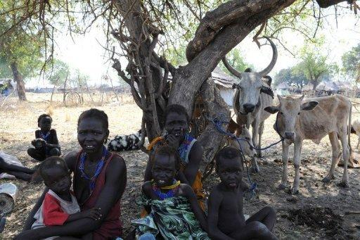 A handout picture released by the UN on January 5, shows internally displaced persons resting in Pibor, Jonglei state after fleeing the surrounding areas following a wave of bloody ethnic violence. UN peacekeepers have stepped up land and air patrols in a troubled South Sudan state where scores of people are feared to have been killed in tribal clashes, a UN spokesman said Friday
