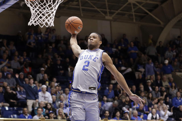 Duke guard Cassius Stanley (2) drives for a dunk against Colorado State during the second half of an NCAA college basketball game in Durham, N.C., Friday, Nov. 8, 2019. (AP Photo/Gerry Broome)