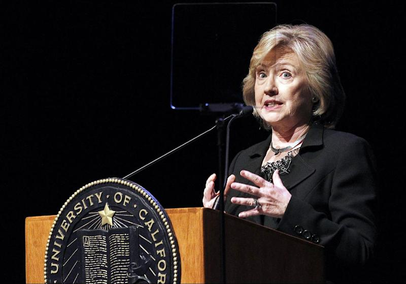Former Secretary of State Hillary Rodham Clinton, a potential 2016 presidential candidate, uses a teleprompter as she speaks to students at the University of California Los Angeles, UCLA campus on the subject of leadership Wednesday, March 5, 2014, in Los Angeles. (AP Photo/Nick Ut)