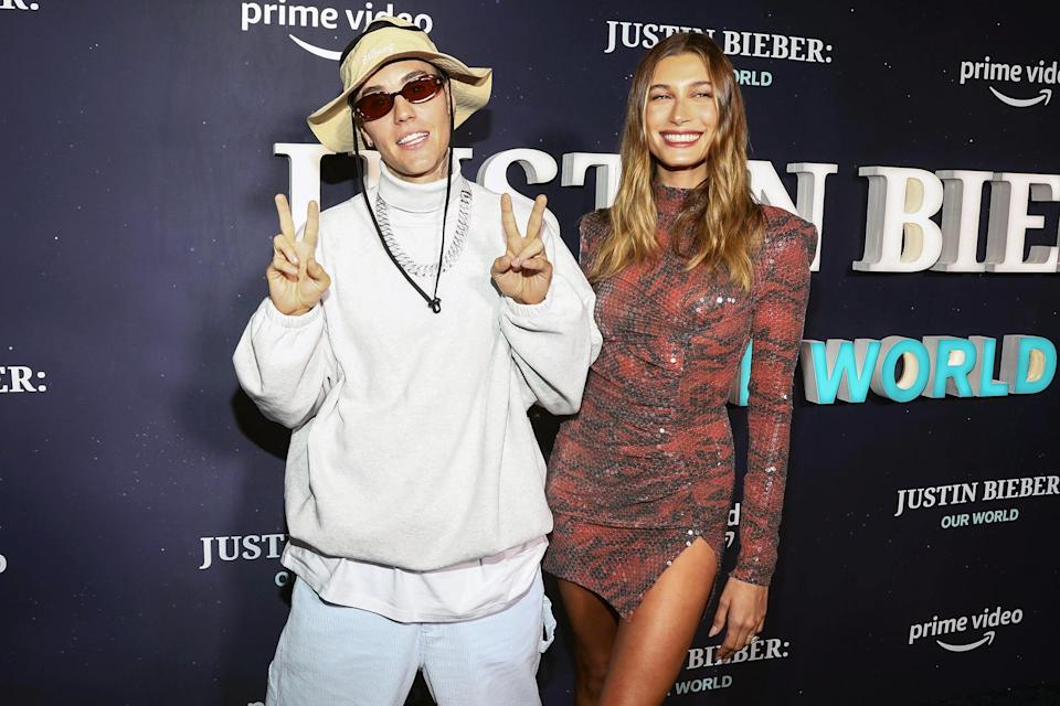 <p>Justin Bieber and wife Hailey Baldwin arrive at the <i>Justin Bieber: Our World</i> premiere at Edge at Hudson Yards on Sept. 14 in N.Y.C. </p>