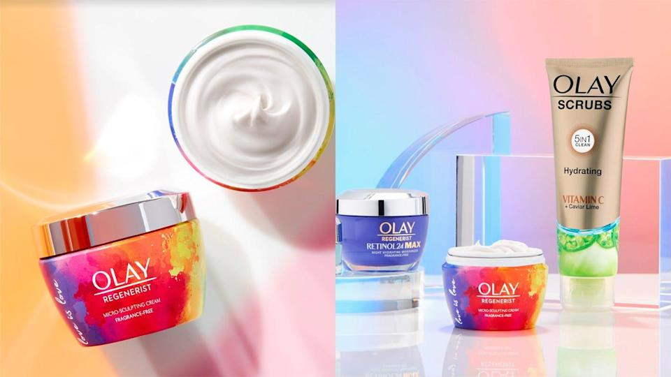 Olay gave the Regenerist Micro-Sculpting Cream, along with two gift sets, a Pride makeover.