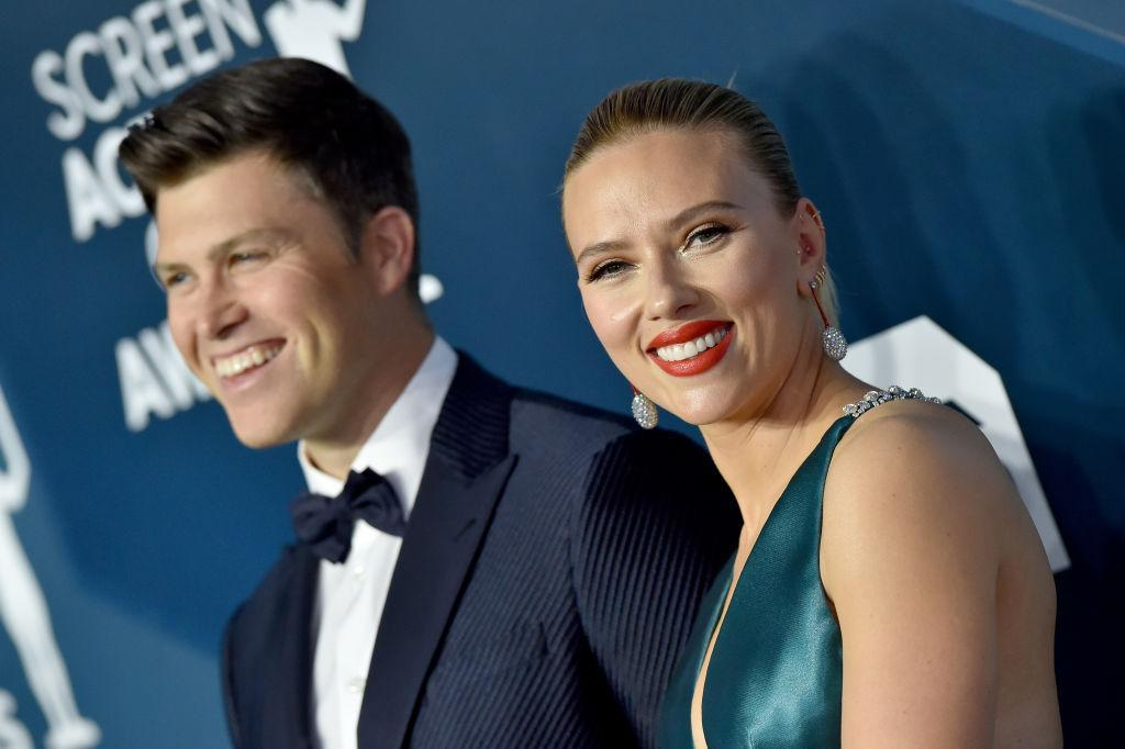 Scarlett Johansson and Colin Jost have welcomed their first child together, pictured in January 2020. (Getty Images)