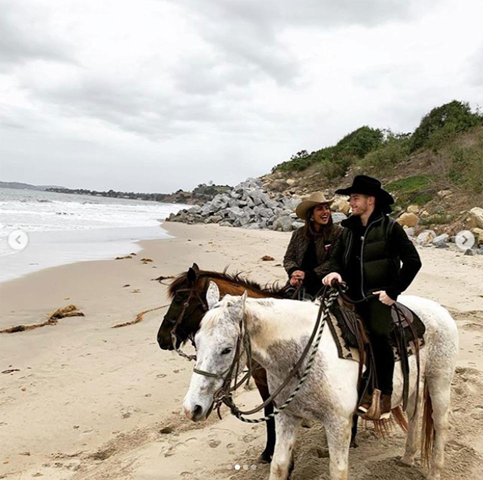 "<p>The couple sported cowboy hats while they enjoyed a picturesque horseback ride along the beaches of Carpinteria, a small oceanside city in Santa Barbara, California. They both shared a sweet snap from the outing: ""Magic,"" Chopra captioned hers, while Jonas simply wrote, ""Sunday.""</p>"