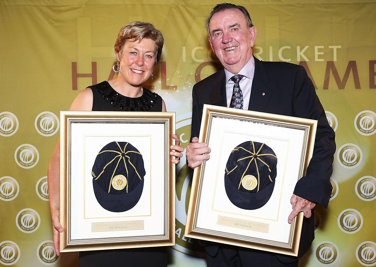 SYDNEY, AUSTRALIA - JANUARY 02: 2013 ICC Cricket Hall of Fame inductees, Debbie Hockley of New Zealand and Bob Simpson of Australia during the 2013 ICC Cricket Hall of Fame  Inductions at Sydney Cricket Ground on January 2, 2014 in Sydney, Australia.  (Photo by Brendon Thorne/Getty Images for the ICC)