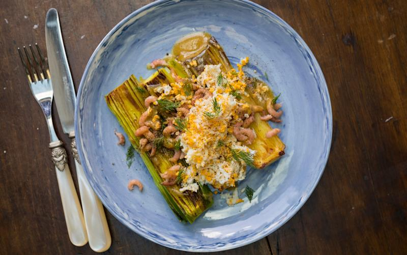 Leeks with brown shrimps and grated eggs - Credit: Andrew Crowley