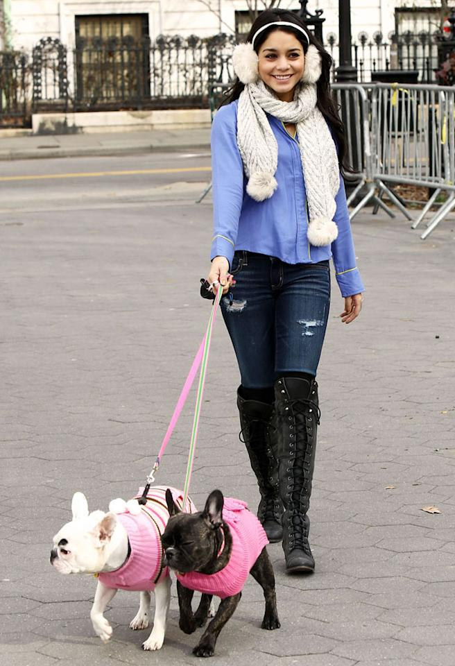 Exclusive-New York, NY - 12/12/2012 - Vanessa Hudgens wearing an aerie pajama top while walking her friend`s dogs in NYC.