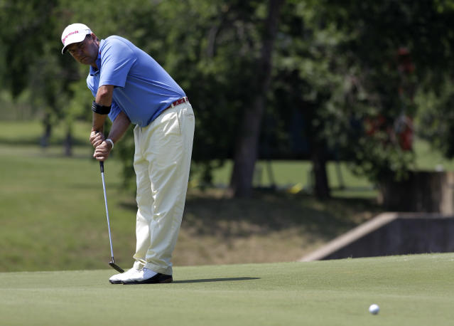 Dicky Pride gestures during his putt on the fifth green during the second round of the Byron Nelson Championship golf tournament Friday, May 18, 2012, in Irving, Texas. Pride is 6-under going into the weekend. (AP Photo/Tony Gutierrez)