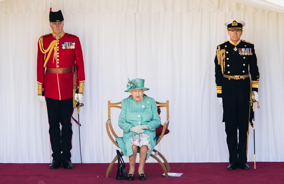 WINDSOR, ENGLAND - JUNE 13: Queen Elizabeth II attends Trooping The Colour, the Queen's birthday ceremony at Windsor Castle on June 13, 2020 in Windsor, England. In line with Government advice, it was agreed that The Queen's Birthday Parade, also known as Trooping the Colour, would not go ahead in its traditional form. (Photo by Pool/Samir Hussein/WireImage)