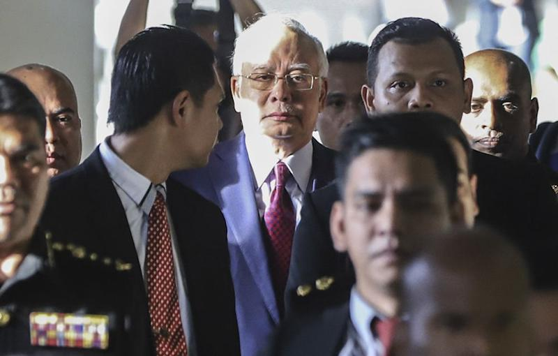 Najib was charged in July with three counts of criminal breach of trust and one charge for abuse of power involving some RM42 million allegedly funnelled to his private bank account from former 1MDB subsidiary SRC International Sdn Bhd. ― Picture by Azneal Ishak