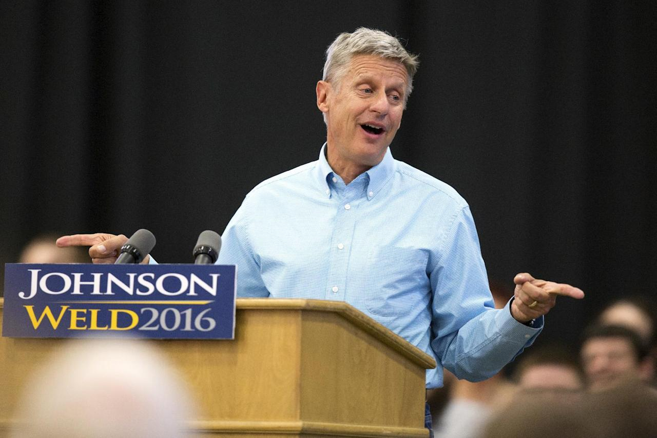 "FILE - In this Sept. 3, 2016 file photo, Libertarian presidential candidate Gary Johnson speaks during a campaign rally in Des Moines, Iowa. Johnson had another self-described ""Aleppo moment"" on Wednesday, Sept. 28, 2016, after he couldn't come up with a name when asked by MSNBC host Chris Matthews who his favorite foreign leader is. (AP Photo/Scott Morgan, File)"